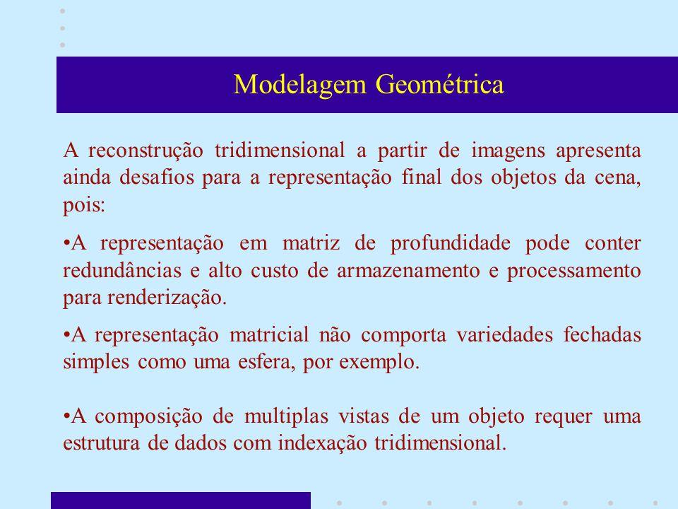 Modelagem Geométrica A reconstrução tridimensional a partir de imagens apresenta ainda desafios para a representação final dos objetos da cena, pois: A representação em matriz de profundidade pode conter redundâncias e alto custo de armazenamento e processamento para renderização.