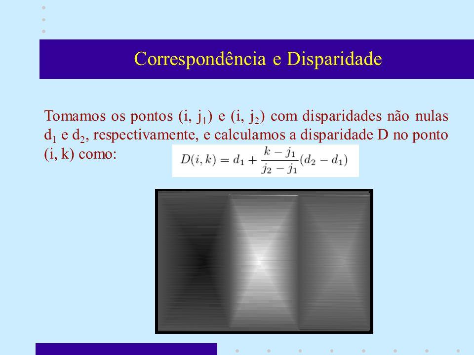 Correspondência e Disparidade Tomamos os pontos (i, j 1 ) e (i, j 2 ) com disparidades não nulas d 1 e d 2, respectivamente, e calculamos a disparidade D no ponto (i, k) como: