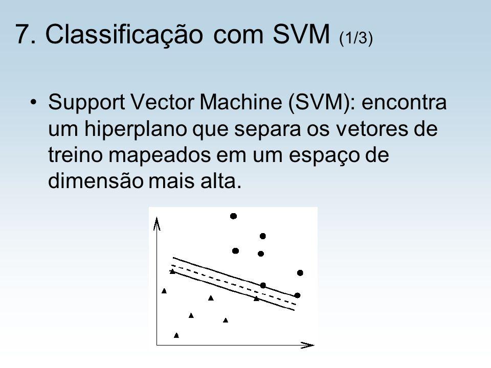 7. Classificação com SVM (1/3) Support Vector Machine (SVM): encontra um hiperplano que separa os vetores de treino mapeados em um espaço de dimensão