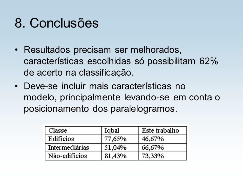 8. Conclusões Resultados precisam ser melhorados, características escolhidas só possibilitam 62% de acerto na classificação. Deve-se incluir mais cara
