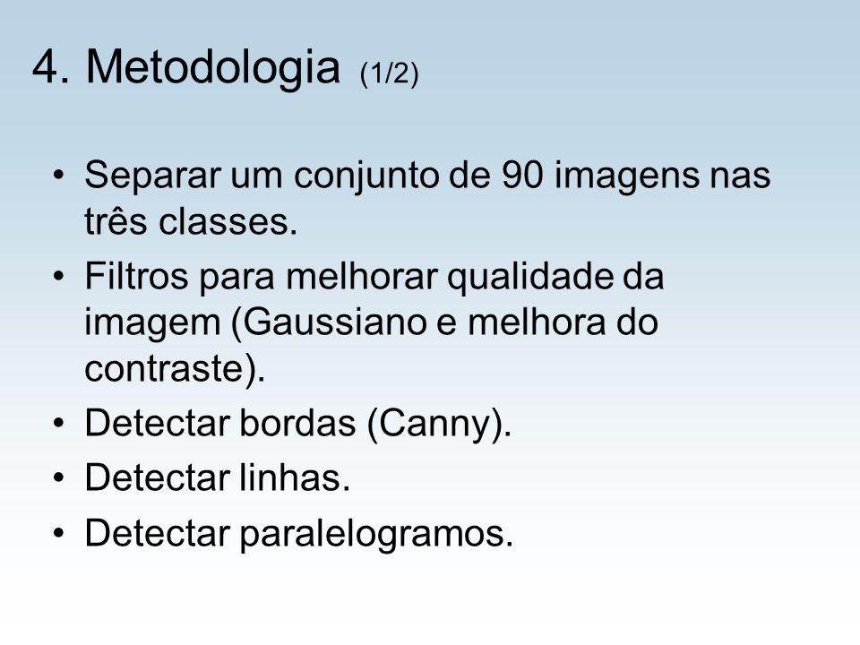 4. Metodologia (1/2) Separar um conjunto de 90 imagens nas três classes. Filtros para melhorar qualidade da imagem (Gaussiano e melhora do contraste).