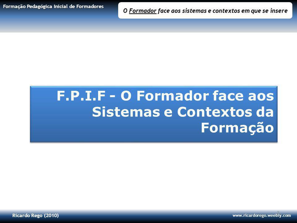 Ricardo Rego (2010) www.ricardorego.weebly.com Formação Pedagógica Inicial de Formadores O Formador face aos sistemas e contextos em que se insere 2 F