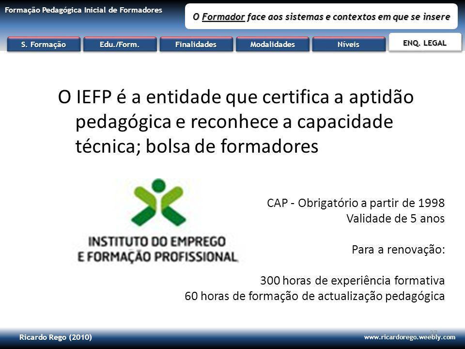 Ricardo Rego (2010) www.ricardorego.weebly.com Formação Pedagógica Inicial de Formadores O Formador face aos sistemas e contextos em que se insere 27