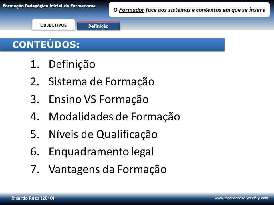 Ricardo Rego (2010) www.ricardorego.weebly.com Formação Pedagógica Inicial de Formadores O Formador face aos sistemas e contextos em que se insere 25 DefiniçãoDefinição S.