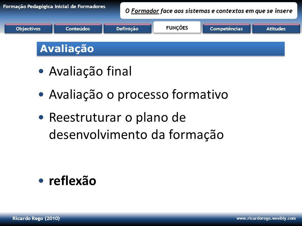 Ricardo Rego (2010) www.ricardorego.weebly.com Formação Pedagógica Inicial de Formadores O Formador face aos sistemas e contextos em que se insere Ava