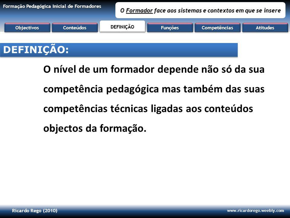 Ricardo Rego (2010) www.ricardorego.weebly.com Formação Pedagógica Inicial de Formadores O Formador face aos sistemas e contextos em que se insere O n