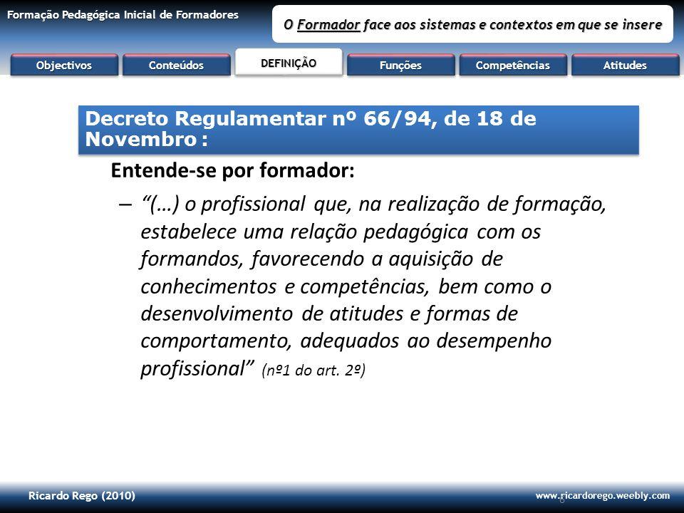 Ricardo Rego (2010) www.ricardorego.weebly.com Formação Pedagógica Inicial de Formadores O Formador face aos sistemas e contextos em que se insere 6 E