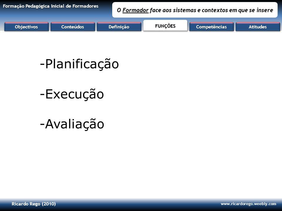 Ricardo Rego (2010) www.ricardorego.weebly.com Formação Pedagógica Inicial de Formadores O Formador face aos sistemas e contextos em que se insere -Pl