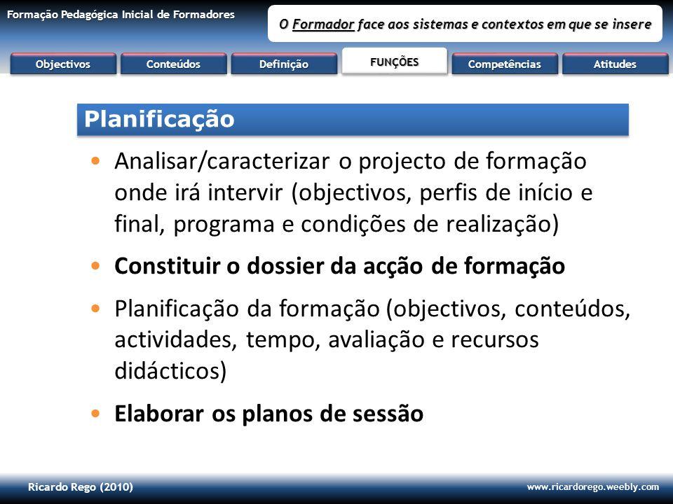 Ricardo Rego (2010) www.ricardorego.weebly.com Formação Pedagógica Inicial de Formadores O Formador face aos sistemas e contextos em que se insere Ana