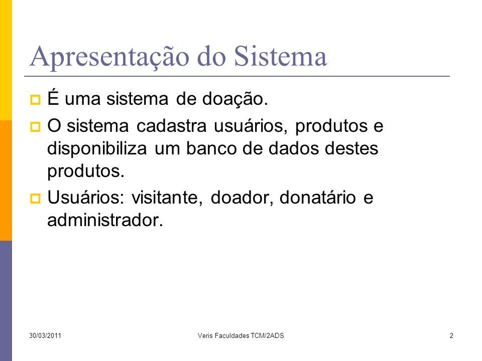 Apresentação do Sistema  É uma sistema de doação.