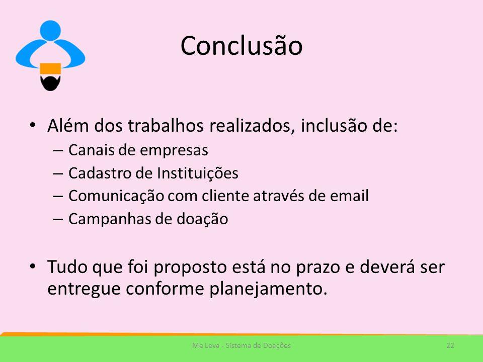 Conclusão Além dos trabalhos realizados, inclusão de: – Canais de empresas – Cadastro de Instituições – Comunicação com cliente através de email – Cam