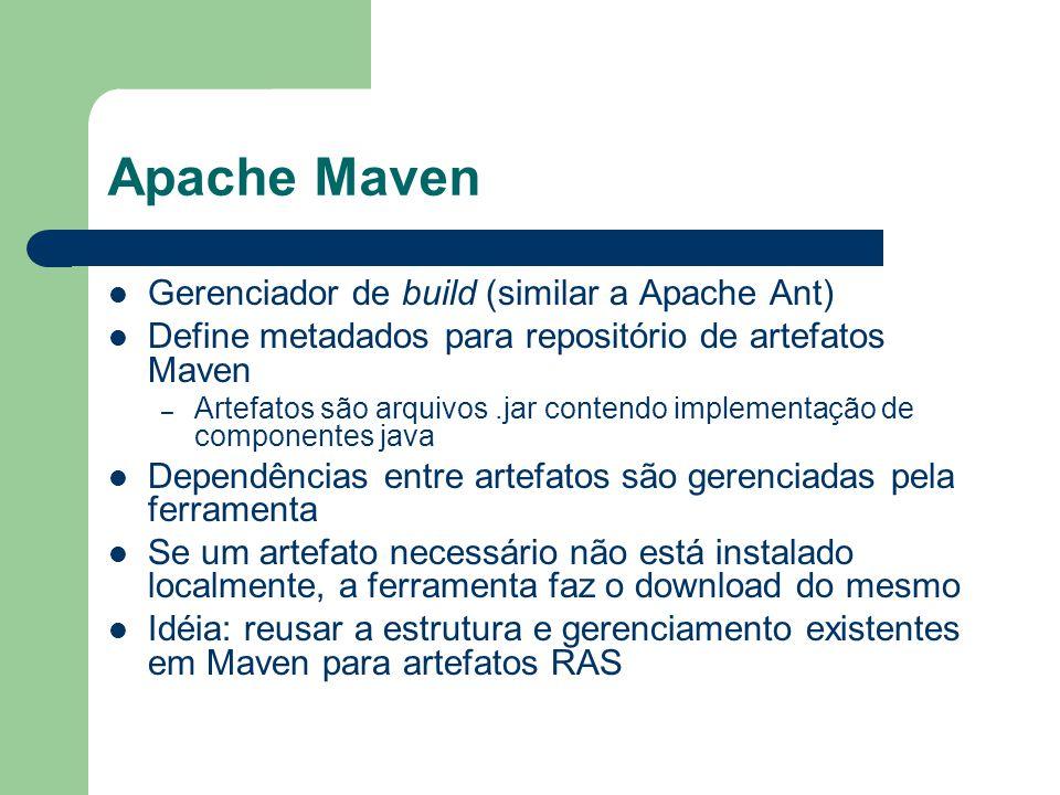 Apache Maven Gerenciador de build (similar a Apache Ant) Define metadados para repositório de artefatos Maven – Artefatos são arquivos.jar contendo implementação de componentes java Dependências entre artefatos são gerenciadas pela ferramenta Se um artefato necessário não está instalado localmente, a ferramenta faz o download do mesmo Idéia: reusar a estrutura e gerenciamento existentes em Maven para artefatos RAS