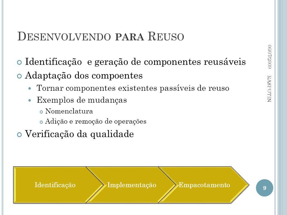 D ESENVOLVENDO PARA R EUSO 06/07/2009 RASPUTIN 9 Identificação e geração de componentes reusáveis Adaptação dos compoentes Tornar componentes existent