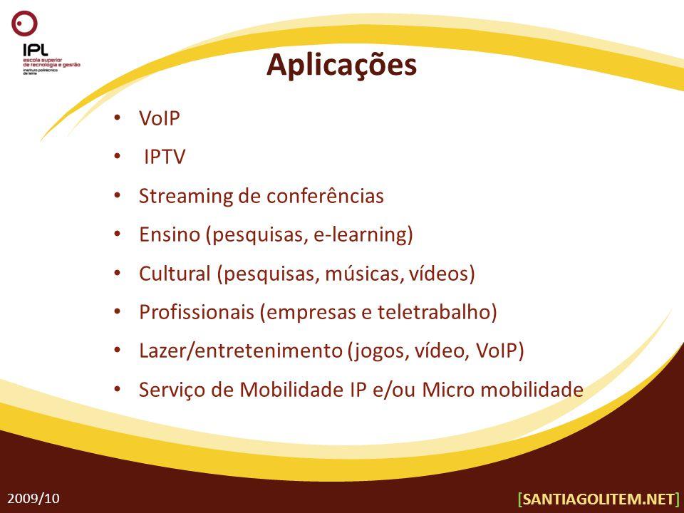 Aplicações 2009/10 VoIP IPTV Streaming de conferências Ensino (pesquisas, e-learning) Cultural (pesquisas, músicas, vídeos) Profissionais (empresas e teletrabalho) Lazer/entretenimento (jogos, vídeo, VoIP) Serviço de Mobilidade IP e/ou Micro mobilidade [SANTIAGOLITEM.NET]