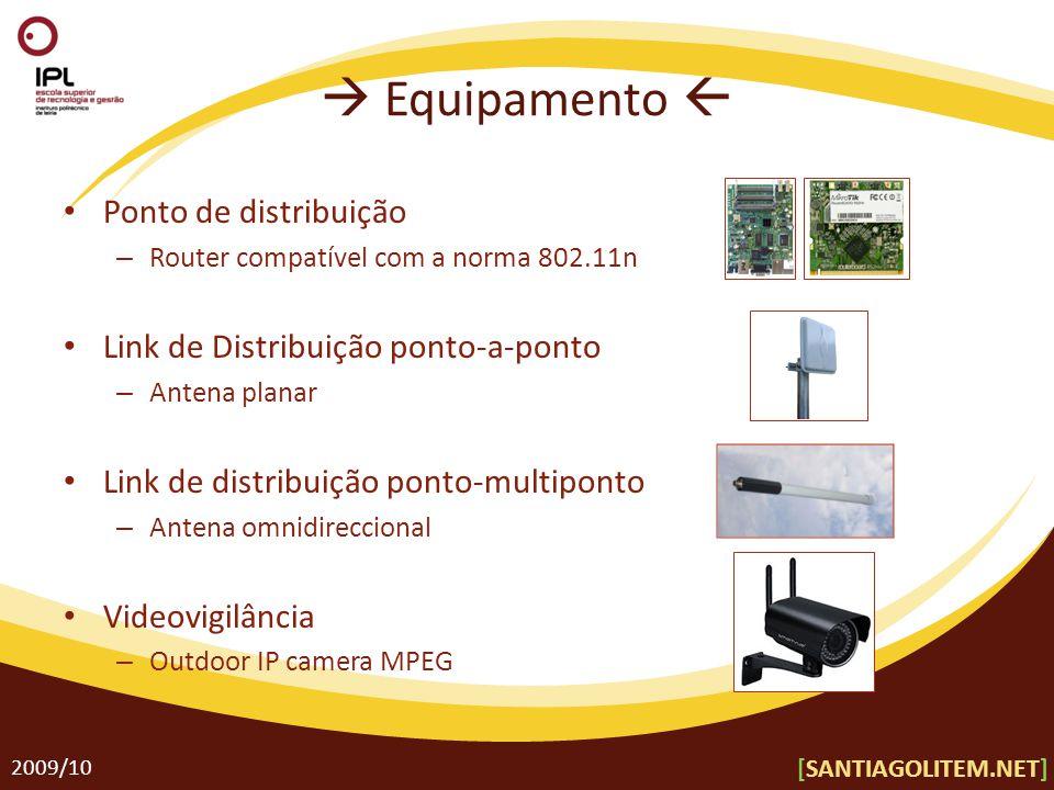  Equipamento  Ponto de distribuição – Router compatível com a norma 802.11n Link de Distribuição ponto-a-ponto – Antena planar Link de distribuição ponto-multiponto – Antena omnidireccional Videovigilância – Outdoor IP camera MPEG 2009/10 [SANTIAGOLITEM.NET]