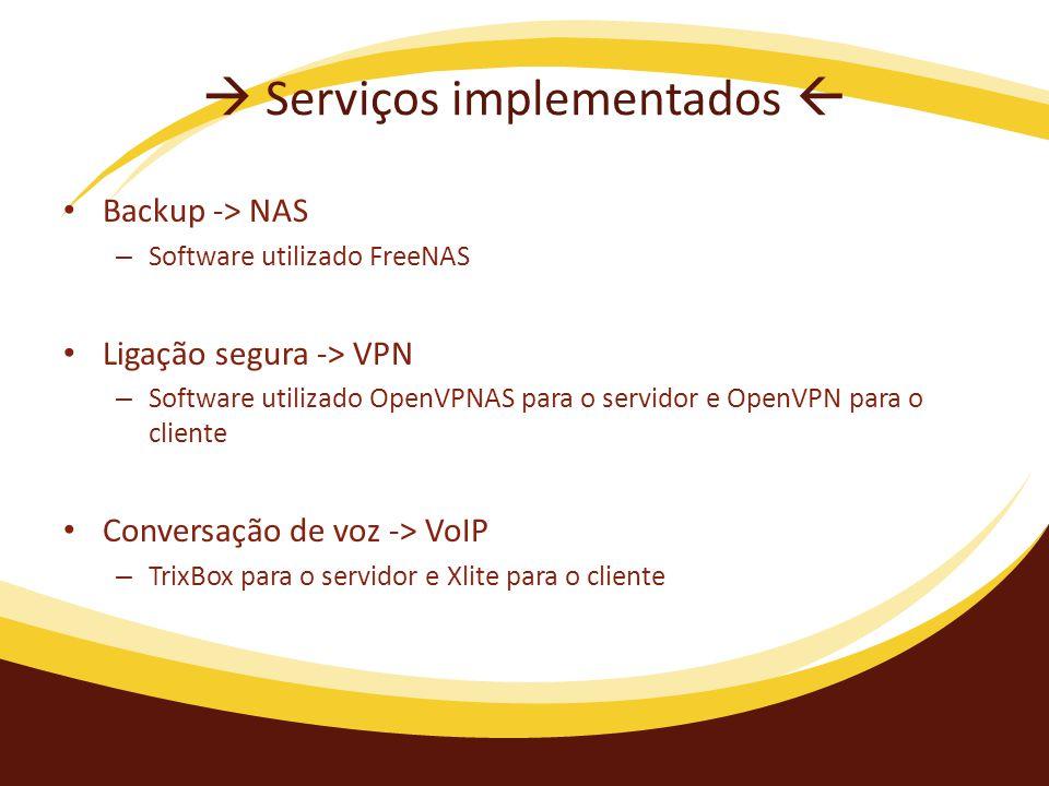  Serviços implementados  Backup -> NAS – Software utilizado FreeNAS Ligação segura -> VPN – Software utilizado OpenVPNAS para o servidor e OpenVPN para o cliente Conversação de voz -> VoIP – TrixBox para o servidor e Xlite para o cliente