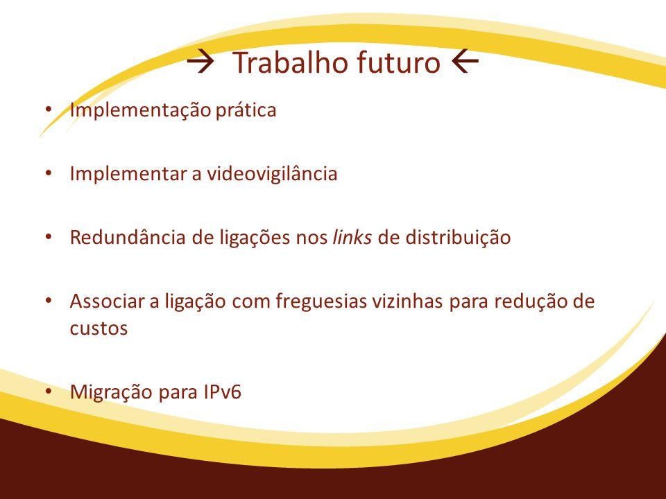  Trabalho futuro  Implementação prática Implementar a videovigilância Redundância de ligações nos links de distribuição Associar a ligação com freguesias vizinhas para redução de custos Migração para IPv6
