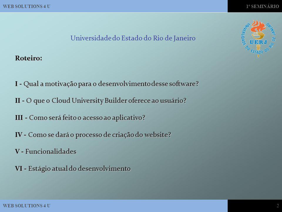 1º SEMINÁRIO WEB SOLUTIONS 4 U2Roteiro: I - Qual a motivação para o desenvolvimento desse software.