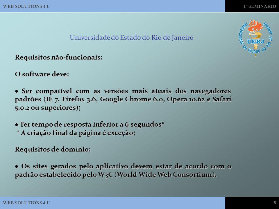 WEB SOLUTIONS 4 U1º SEMINÁRIO WEB SOLUTIONS 4 U8 Universidade do Estado do Rio de Janeiro Requisitos não-funcionais: O software deve:  Ser compatível com as versões mais atuais dos navegadores padrões (IE 7, Firefox 3.6, Google Chrome 6.0, Opera 10.62 e Safari 5.0.2 ou superiores);  Ter tempo de resposta inferior a 6 segundos* * A criação final da página é exceção; * A criação final da página é exceção; Requisitos de domínio:  Os sites gerados pelo aplicativo devem estar de acordo com o padrão estabelecido pelo W3C (World Wide Web Consortium).