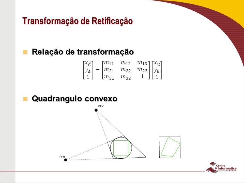 Transformação de Retificação Relação de transformação Relação de transformação Quadrangulo convexo Quadrangulo convexo
