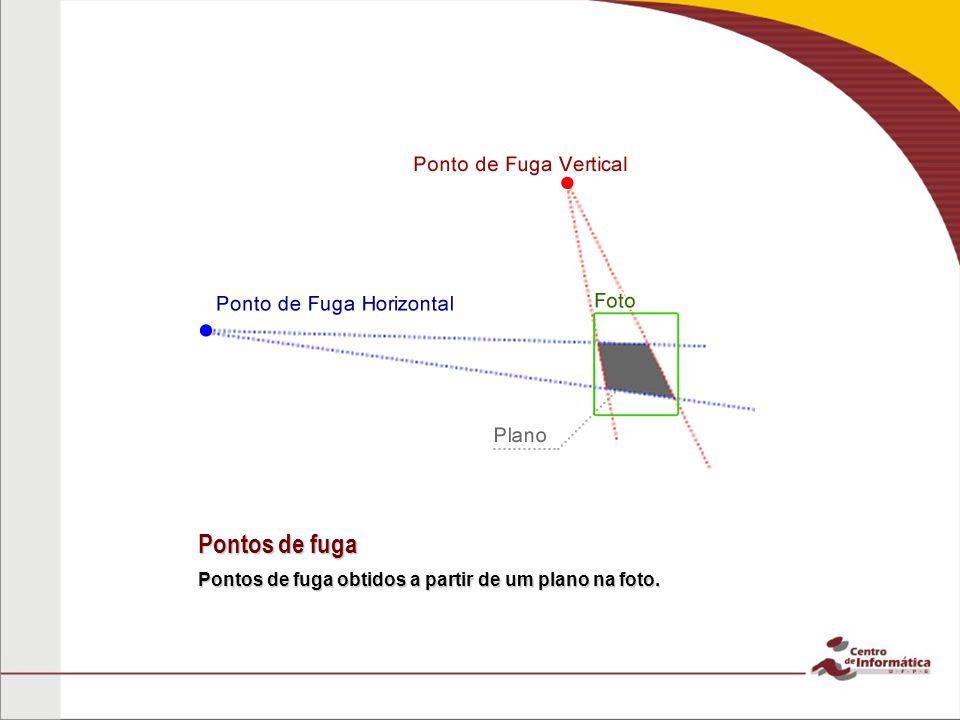 Pontos de fuga Pontos de fuga obtidos a partir de um plano na foto.