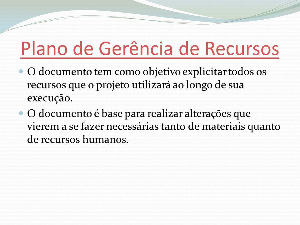 Plano de Gerência de Recursos O documento tem como objetivo explicitar todos os recursos que o projeto utilizará ao longo de sua execução.
