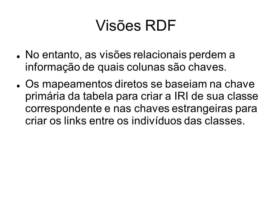 Visões RDF No entanto, as visões relacionais perdem a informação de quais colunas são chaves.