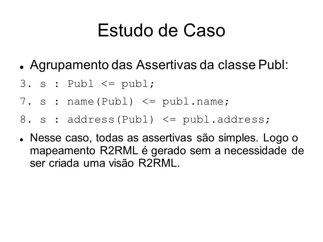 Estudo de Caso Agrupamento das Assertivas da classe Publ: 3.