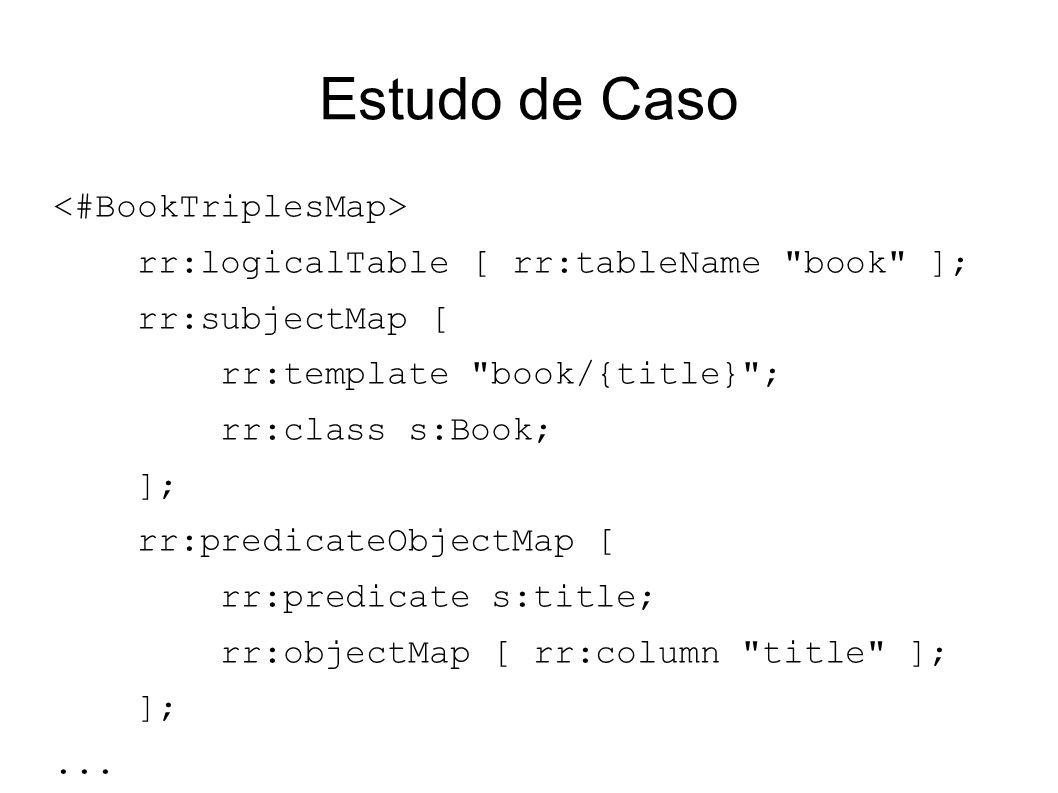 Estudo de Caso rr:logicalTable [ rr:tableName book ]; rr:subjectMap [ rr:template book/{title} ; rr:class s:Book; ]; rr:predicateObjectMap [ rr:predicate s:title; rr:objectMap [ rr:column title ]; ];...