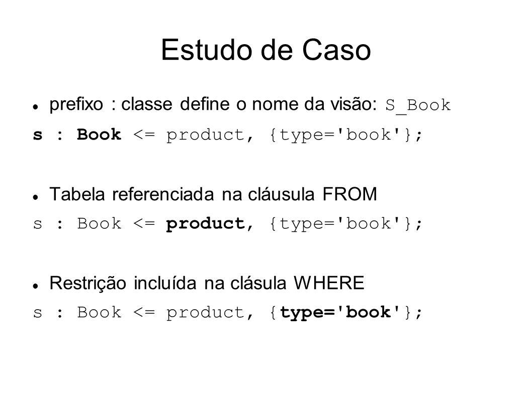 Estudo de Caso prefixo : classe define o nome da visão: S_Book s : Book <= product, {type= book }; Tabela referenciada na cláusula FROM s : Book <= product, {type= book }; Restrição incluída na clásula WHERE s : Book <= product, {type= book };