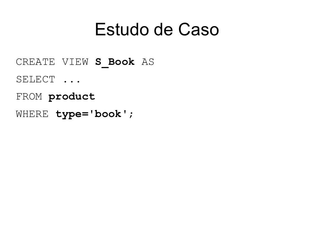Estudo de Caso CREATE VIEW S_Book AS SELECT... FROM product WHERE type= book ;