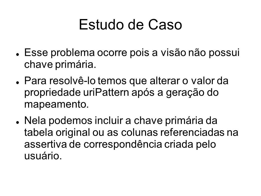 Estudo de Caso Esse problema ocorre pois a visão não possui chave primária.
