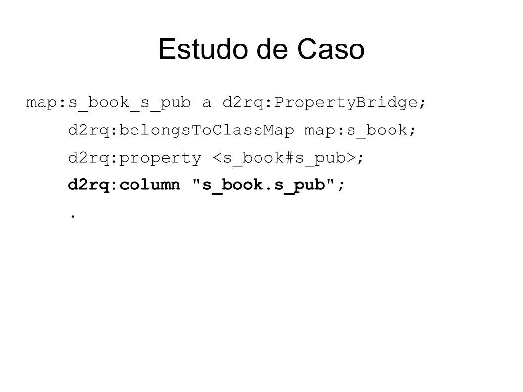 Estudo de Caso map:s_book_s_pub a d2rq:PropertyBridge; d2rq:belongsToClassMap map:s_book; d2rq:property ; d2rq:column s_book.s_pub ;.