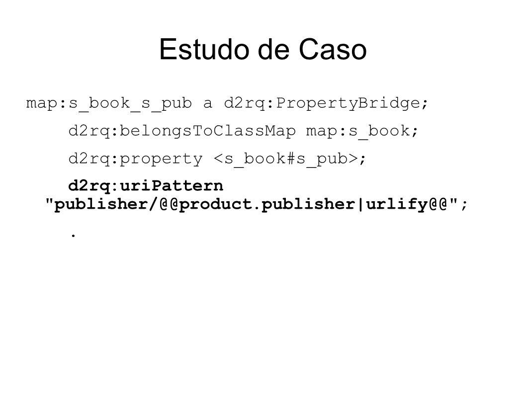 Estudo de Caso map:s_book_s_pub a d2rq:PropertyBridge; d2rq:belongsToClassMap map:s_book; d2rq:property ; d2rq:uriPattern publisher/@@product.publisher|urlify@@ ;.