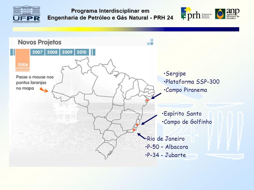 Programa Interdisciplinar em Engenharia de Petróleo e Gás Natural - PRH 24 Sergipe Plataforma SSP-300 Campo Piranema Espírito Santo Campo de Golfinho Rio de Janeiro P-50 – Albacora P-34 - Jubarte