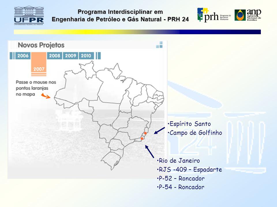Programa Interdisciplinar em Engenharia de Petróleo e Gás Natural - PRH 24 Espírito Santo Campo de Golfinho Rio de Janeiro RJS -409 – Espadarte P-52 – Roncador P-54 - Roncador