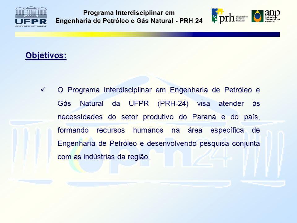 Programa Interdisciplinar em Engenharia de Petróleo e Gás Natural - PRH 24 Objetivos: O Programa Interdisciplinar em Engenharia de Petróleo e Gás Natural da UFPR (PRH-24) visa atender às necessidades do setor produtivo do Paraná e do país, formando recursos humanos na área específica de Engenharia de Petróleo e desenvolvendo pesquisa conjunta com as indústrias da região.