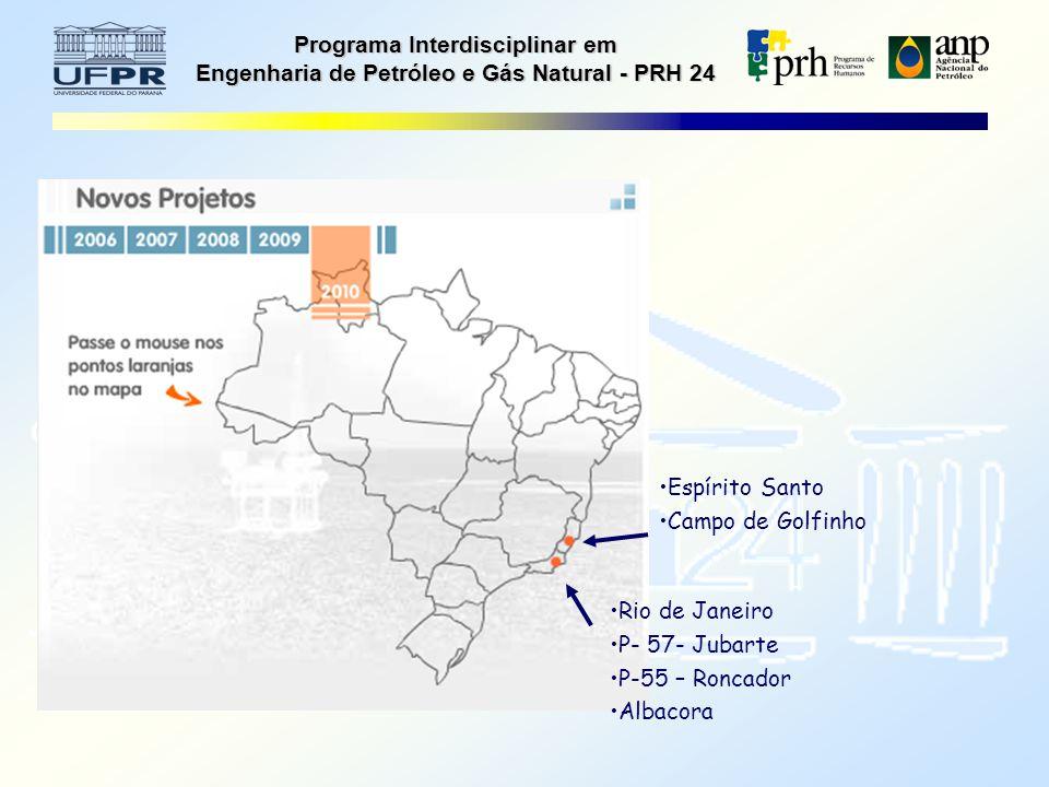Programa Interdisciplinar em Engenharia de Petróleo e Gás Natural - PRH 24 Espírito Santo Campo de Golfinho Rio de Janeiro P- 57- Jubarte P-55 – Roncador Albacora