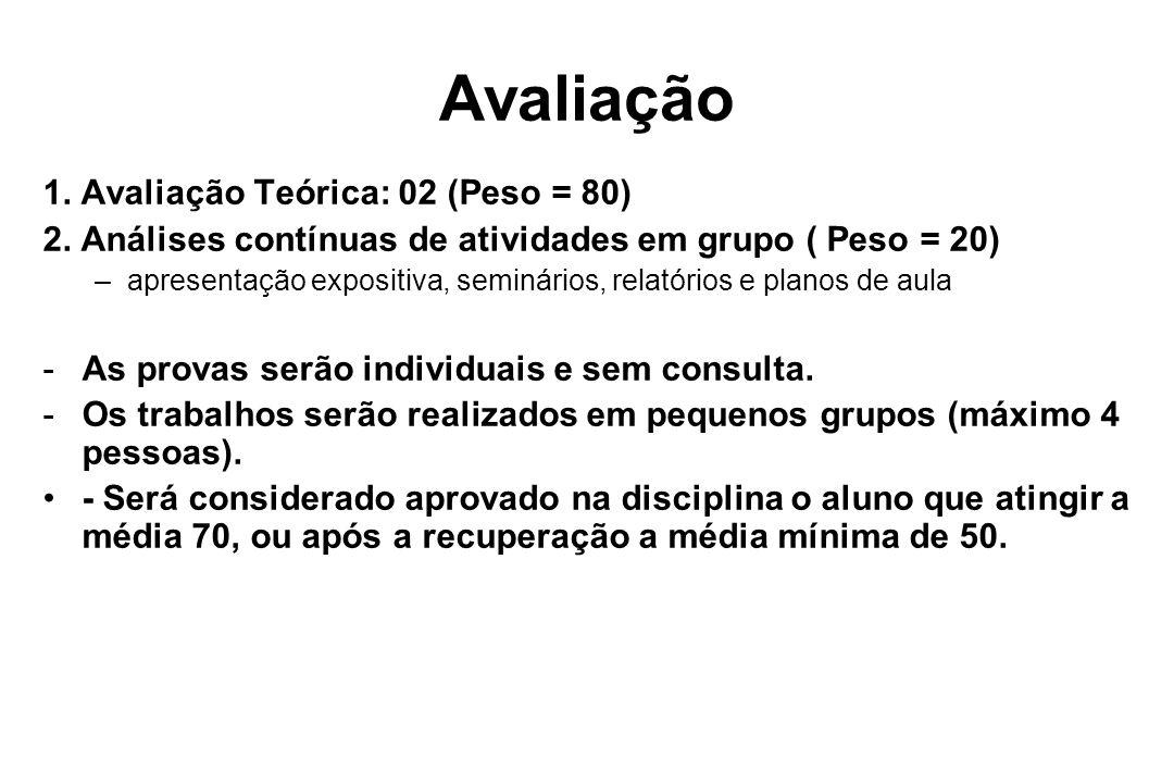 Avaliação 1. Avaliação Teórica: 02 (Peso = 80) 2. Análises contínuas de atividades em grupo ( Peso = 20) –apresentação expositiva, seminários, relatór