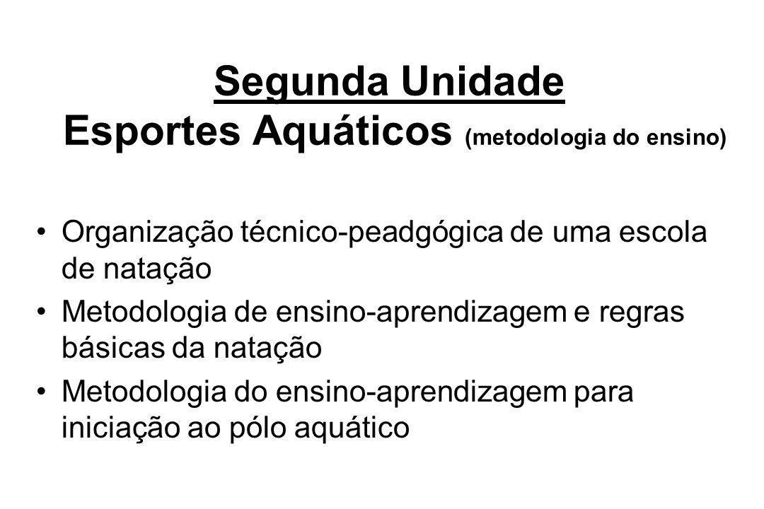Segunda Unidade Esportes Aquáticos (metodologia do ensino) Organização técnico-peadgógica de uma escola de natação Metodologia de ensino-aprendizagem