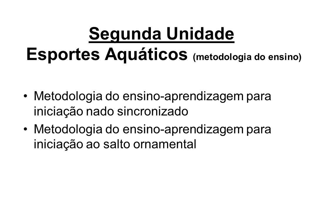 Segunda Unidade Esportes Aquáticos (metodologia do ensino) Metodologia do ensino-aprendizagem para iniciação nado sincronizado Metodologia do ensino-a