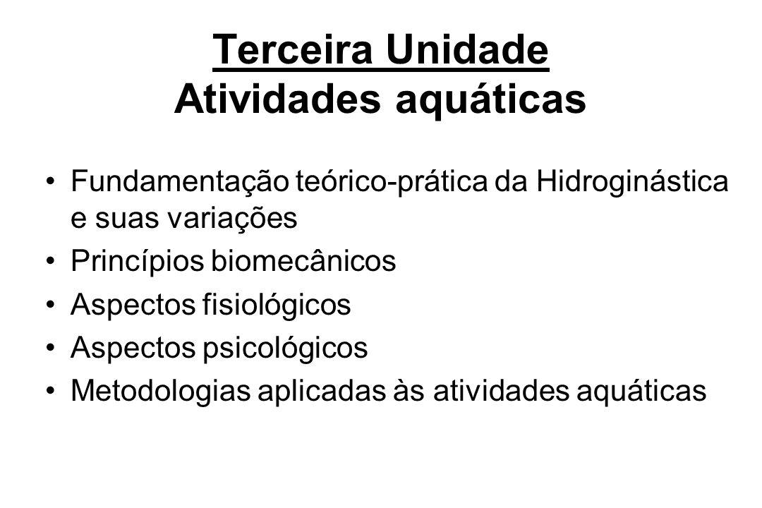 Terceira Unidade Atividades aquáticas Fundamentação teórico-prática da Hidroginástica e suas variações Princípios biomecânicos Aspectos fisiológicos A