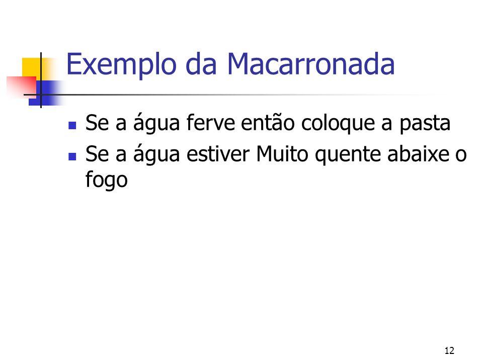 12 Exemplo da Macarronada Se a água ferve então coloque a pasta Se a água estiver Muito quente abaixe o fogo