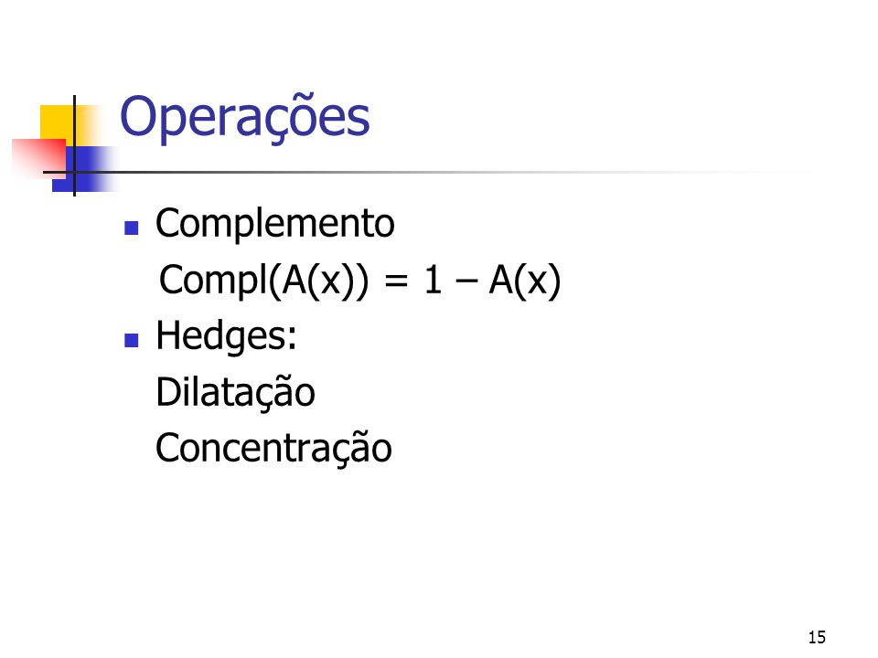 15 Operações Complemento Compl(A(x)) = 1 – A(x) Hedges: Dilatação Concentração