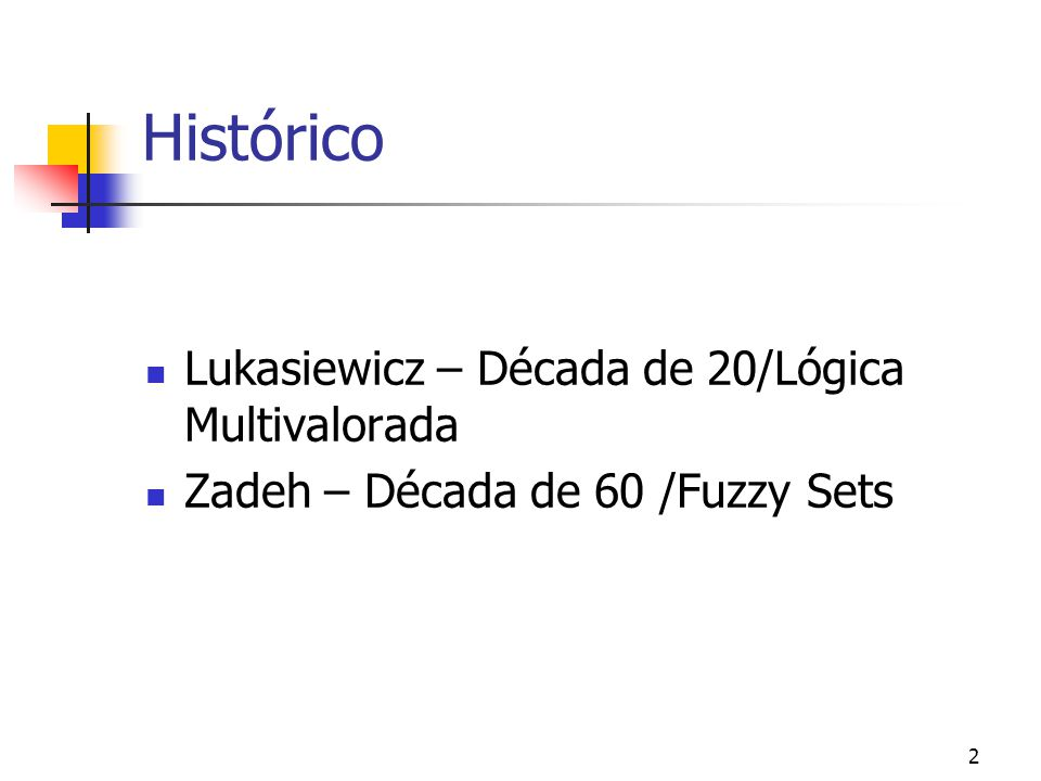 2 Histórico Lukasiewicz – Década de 20/Lógica Multivalorada Zadeh – Década de 60 /Fuzzy Sets