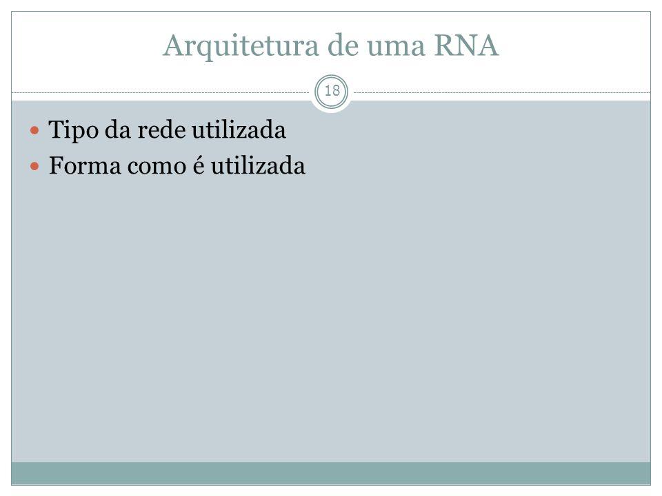Arquitetura de uma RNA 18 Tipo da rede utilizada Forma como é utilizada