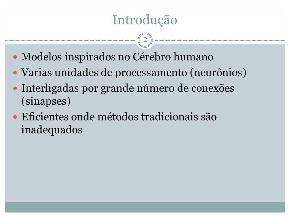 Introdução 2 Modelos inspirados no Cérebro humano Varias unidades de processamento (neurônios) Interligadas por grande número de conexões (sinapses) E
