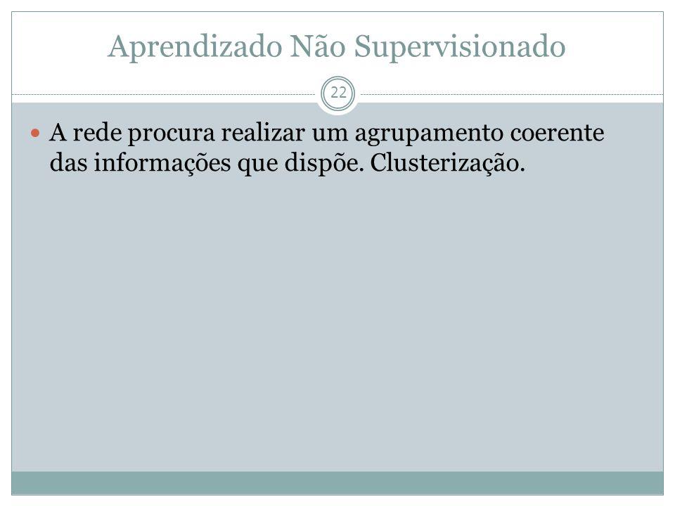 Aprendizado Não Supervisionado 22 A rede procura realizar um agrupamento coerente das informações que dispõe. Clusterização.