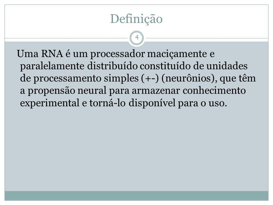 Definição 4 Uma RNA é um processador maciçamente e paralelamente distribuído constituído de unidades de processamento simples (+-) (neurônios), que tê