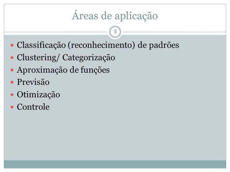 Áreas de aplicação 8 Classificação (reconhecimento) de padrões Clustering/ Categorização Aproximação de funções Previsão Otimização Controle